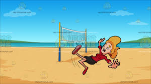 a woman slipping on her back at beach volleyball cartoon clipart