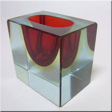 Red Glass Vases And Bowls Murano Sommerso Faceted Red U0026 Amber Glass Block Bowl Bowls