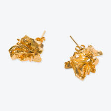 stud gold cavernous stud gold plated pair of earrings by by nye modern times