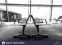 Waiting Area Bench Side View Of Airport Waiting Area Bench With No People Against