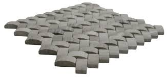 3d light grey basket weave stone tile pebble tile shop