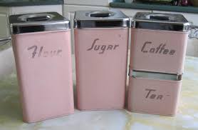 vintage kitchen canisters sets pink kitchen canister set ca 1950 s fabfindsblog