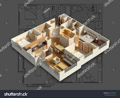 3d isometric rendering furnished residential house stock
