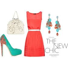 coral dress aqua shoes awesome accessories me exactly