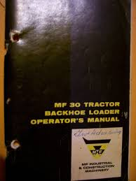 vintage massey ferguson operators manual mf 30 tractor loader