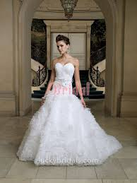 fairytale feathers and 3d flowers organza sweetheart ball gown