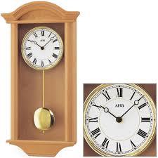 Wohnzimmer Uhren Wanduhr Ams 964 4 Wanduhr Quarz Mit Pendel Golden Holz Eiche Pendeluhr
