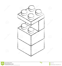 sketch draw toy building block bricks stock vector image 93411342