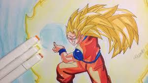 drawing goku super saiyan 3 kamehameha dragon ball