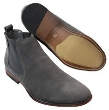 mens italian suede slip on ankle boots smart casual desert chelsea