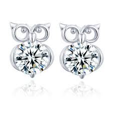 owl stud earrings christmas gift silver color gold color metal animal owl stud