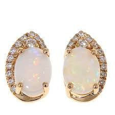 gold diamond stud earrings 14k yellow gold australian opal and white diamond stud earrings