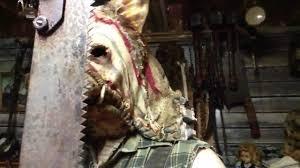 scarecrow halloween mask grim stitch factory butcher pig halloween mask demo youtube