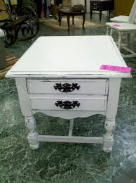 distressed white side table distressed white end table side tables nightstands and end