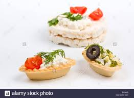 canapé cottage healthy canape snacks with cottage cheese and rice pastries stock