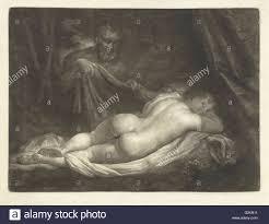Sater Sater Spy A Sleeping Nymph Caspar Netscher 1649 1684 Stock