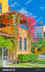 mediterranean style houses caribbean mediterranean style building balcony covered stock photo