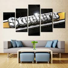 living room canvas 5 panel pittsburgh steelers wall art picture modern home decoration