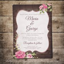 wedding invitations floral rustic country wedding invitation wood wedding invitation rustic