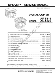 sharp ar m201 ar203 service manual photocopier image scanner