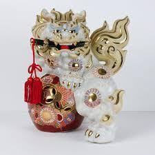 gold foo dogs vintage foo dog lion asian statue sword moriage white