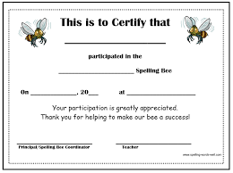 free spelling bee certificates