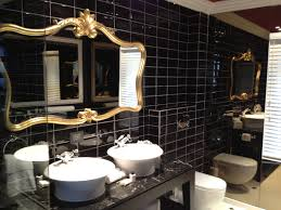 Gold Frame Bathroom Mirror Black And Gold Toilet 15 Refined Decorating Ideas In Glittering