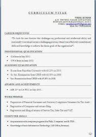 Sap Mm Resume Sample For Freshers by Ca Inter Resume Format