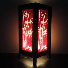 floor l with red shade asian oriental red japanese bamboo bedside floor or table l or