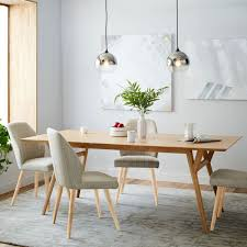 Oak Dining Table And Fabric Chairs Dining Attractive Dining Room With West Elm Mid Century Gray
