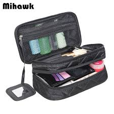 Mihawk double layer cosmetic bag with a mirror travel organizer