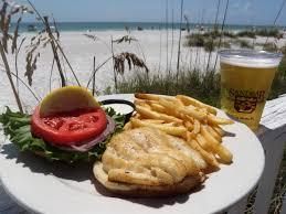 grouper sandwich at the sandbar restaurant on anna maria island