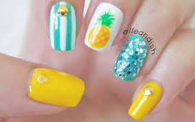 easy summer pineapple nails youtube