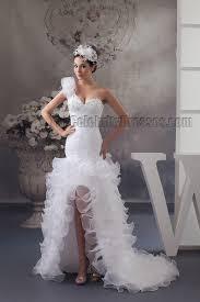 high low wedding dresses trumpet mermaid one shoulder beaded hi low wedding dresses