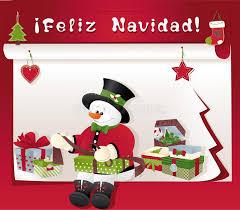 feliz navidad christmas card christmas card with snowman gift and feliz navidad stock vector