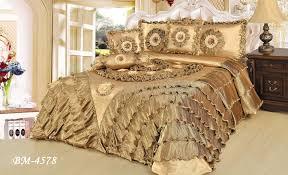 6 piece gold caramel latte faux satin comforter quilt set