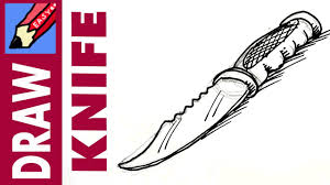 how to draw a hunting knife real easy youtube