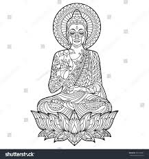 Gautam Buddha Coloring Page Position Meditation Stock Vector Buddhist Coloring Pages