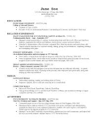 Example College Resumes by Economics Student Resume