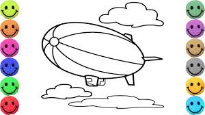 zeppelin coloring pages drawing airship for kids learn colors