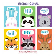 collection of cards with animals at birthday vector free