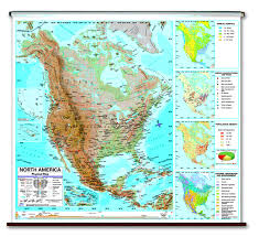 North America Map Labeled by Physical Continent Spring Roller Wall Maps