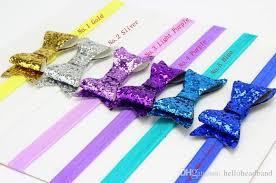 elastic headband new shiny bows elastic headband glitter bowknot with elastic