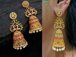 antique gold jhumka earrings trendy jhumkas 22k gold antique finish jhumka