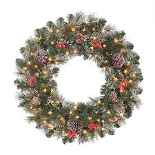 battery operated wreath shop hallmark 30 in pre lit battery operated green pine artificial