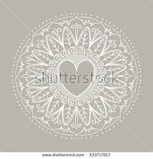 ornate heart decorative oriental henna tattoo stock vector