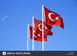 Flags In Three Turkish Flags In Fethiye Mugla Province Turkey Stock Photo