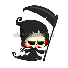 cute cartoon grim reaper with scythe isolated on white cute
