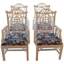 Chinese Chippendale Bench Pagoda Arm Dining Chairs Lacquered American Of Martinsville
