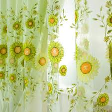 Sunflower Yellow Curtains by Aliexpress Com Buy Sunflower Voile Curtain Door Window Floral